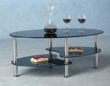 Modern Black Coffee Table Sets Also Glass Material Increases The Space Of All Rooms. This Table Will Be Perfect For Small Living Room Or Living Room (Image 2 of 8)