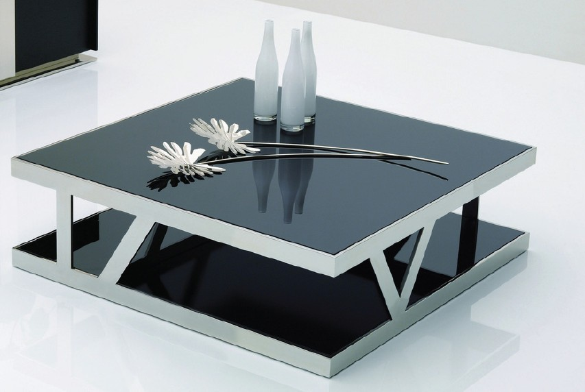 Modern Black Glass Coffee Table Available Also In Painted Glass As Per Samples In The Bright Or Mat Version (Image 3 of 10)