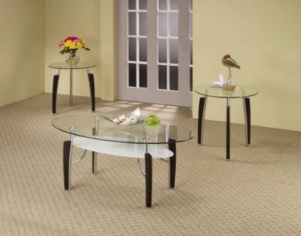 Modern Coffee Tables And End Tables Coffee Table And End Tables Set With Glass Top In Cappuccino Finish (Image 7 of 10)