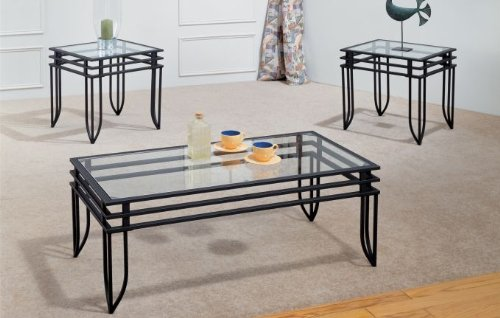 Modern Coffee Tables And End Tables Matrix Coffee Table Set Wrought Iron With 8mm Beveled Glass (Image 8 of 10)