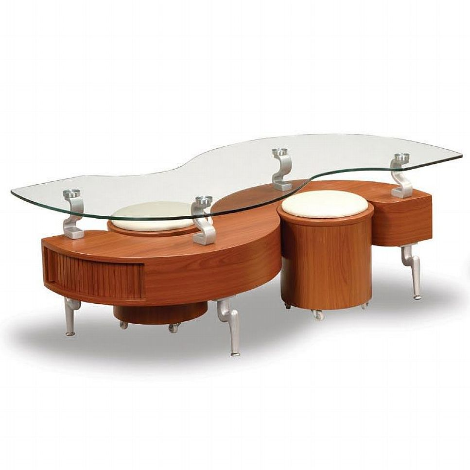 Modern Glass Coffee Table Designs Wonderful Brown Walnut Veneer Lift Top Drawer Glass Storage Accent Side Table (Image 9 of 10)