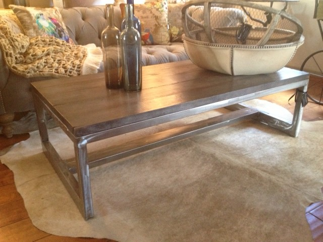 Modern-Rustic-Coffee-Table-with-steel-leg-modern-rustic-furniturecontemporarycoffee-tablesother (Image 4 of 10)