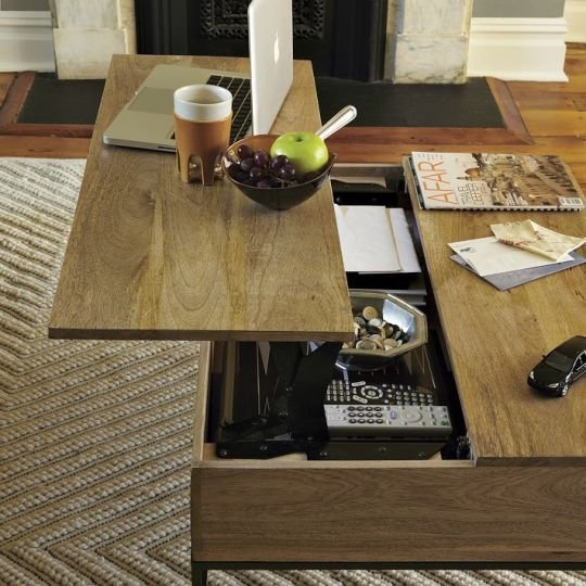 Modern-wood-coffee-table-reclaimed-metal-mid-century-round-natural-diy-All-modern-lift-Top-Coffee-table-remote (Image 7 of 10)