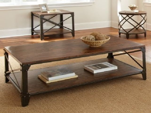 Modern-wood-coffee-table-reclaimed-metal-mid-century-round-natural-diy-Contemporary-Modern-Metal-coffee-table-industrial (Image 7 of 10)