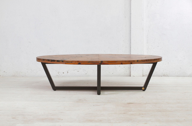 Modern Wood Coffee Table Reclaimed Metal Mid Century Round Natural Diy Contemporary Oval Modern Coffee Table Tables (Image 10 of 10)