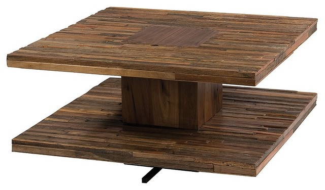 Modern Wood Coffee Table Reclaimed Metal Mid Century Round Natural Diy Modern Square Coffee Tables Parker (Image 9 of 10)