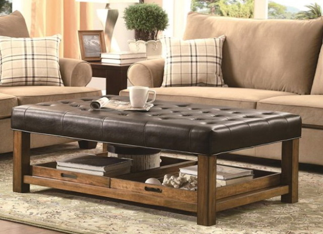 Modern Wood Coffee Table Reclaimed Metal Mid Century Round Natural Diy Padded Large Ottoman Coffee Table With Shelf Best (Image 6 of 10)