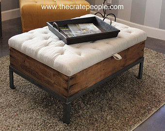 Charmant Modern Wood Coffee Table Reclaimed Metal Mid Century Round Natural Diy  Padded Large Ottoman Upholstered Storage