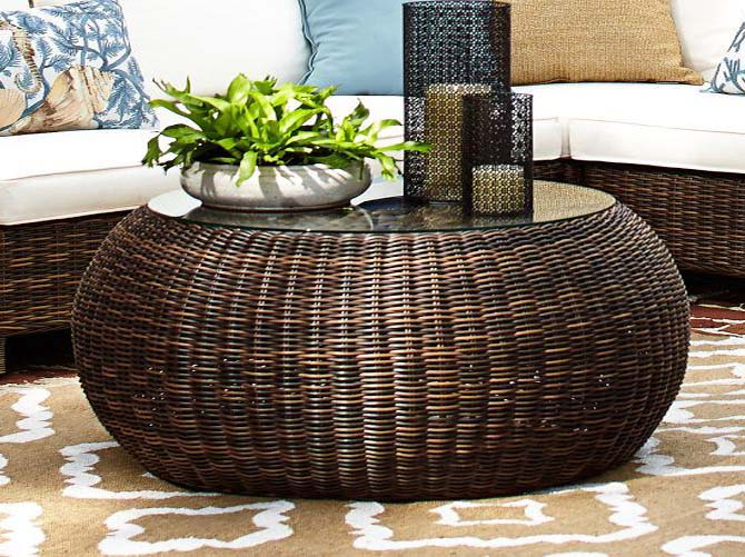 Modern Wood Coffee Table Reclaimed Metal Mid Century Round Natural Diy Padded Wicker Ottoman