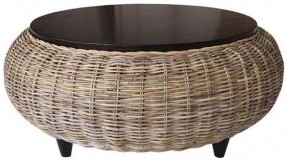 Modern Wood Coffee Table Reclaimed Metal Mid Century Round Natural Diy Padded Wicker Coffee Table Ottoman (View 3 of 10)