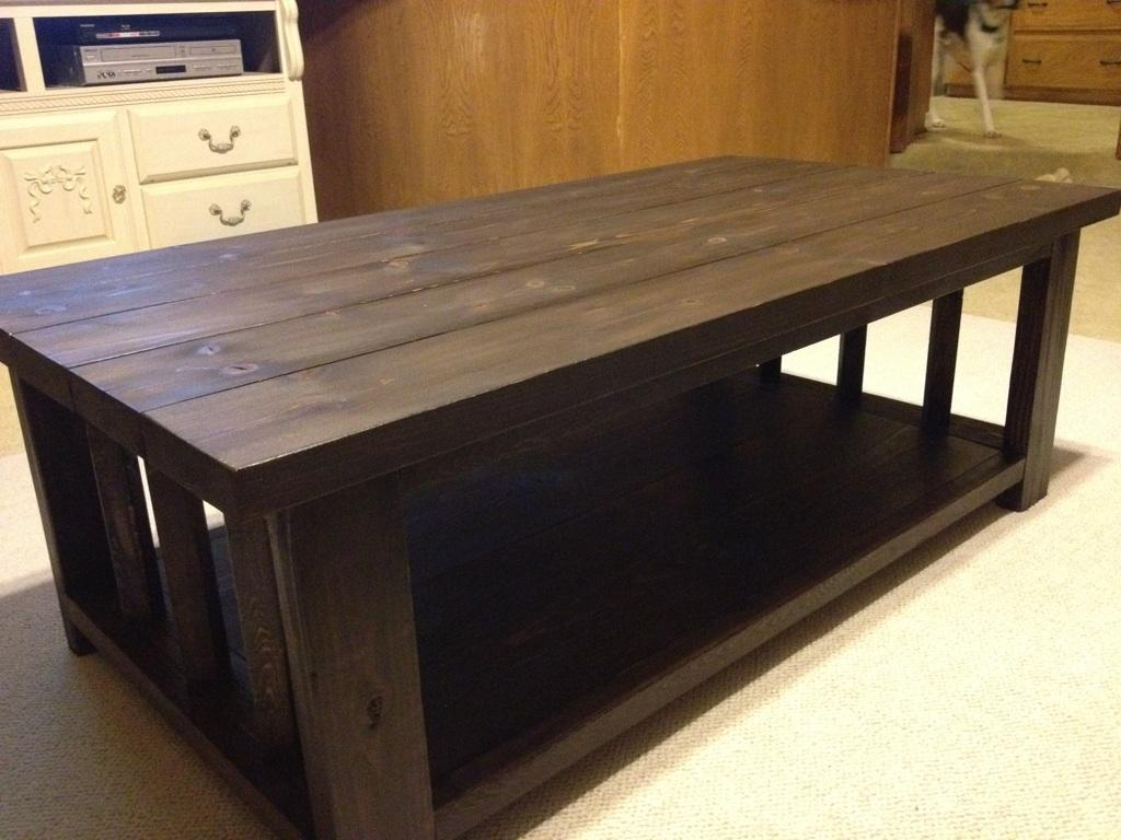 Modified Rustic X Coffee Table Rustic Coffee Table Plans Square Shape Ver Dark Brown (Image 2 of 10)