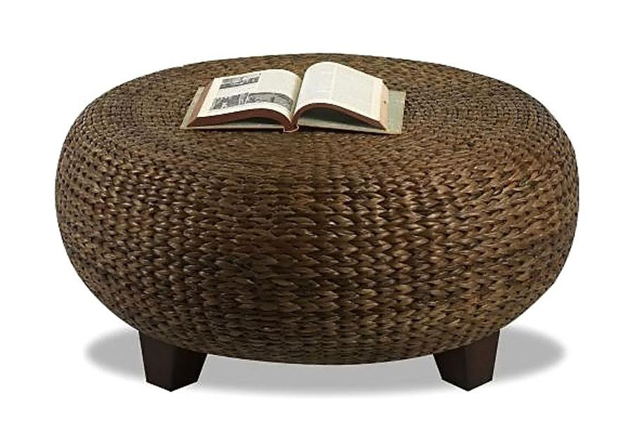 New Round Modern Wood Coffee Table Reclaimed Metal Mid Century Round Natural Diy Padded Wicker Coffee Table Ottoman (View 7 of 10)