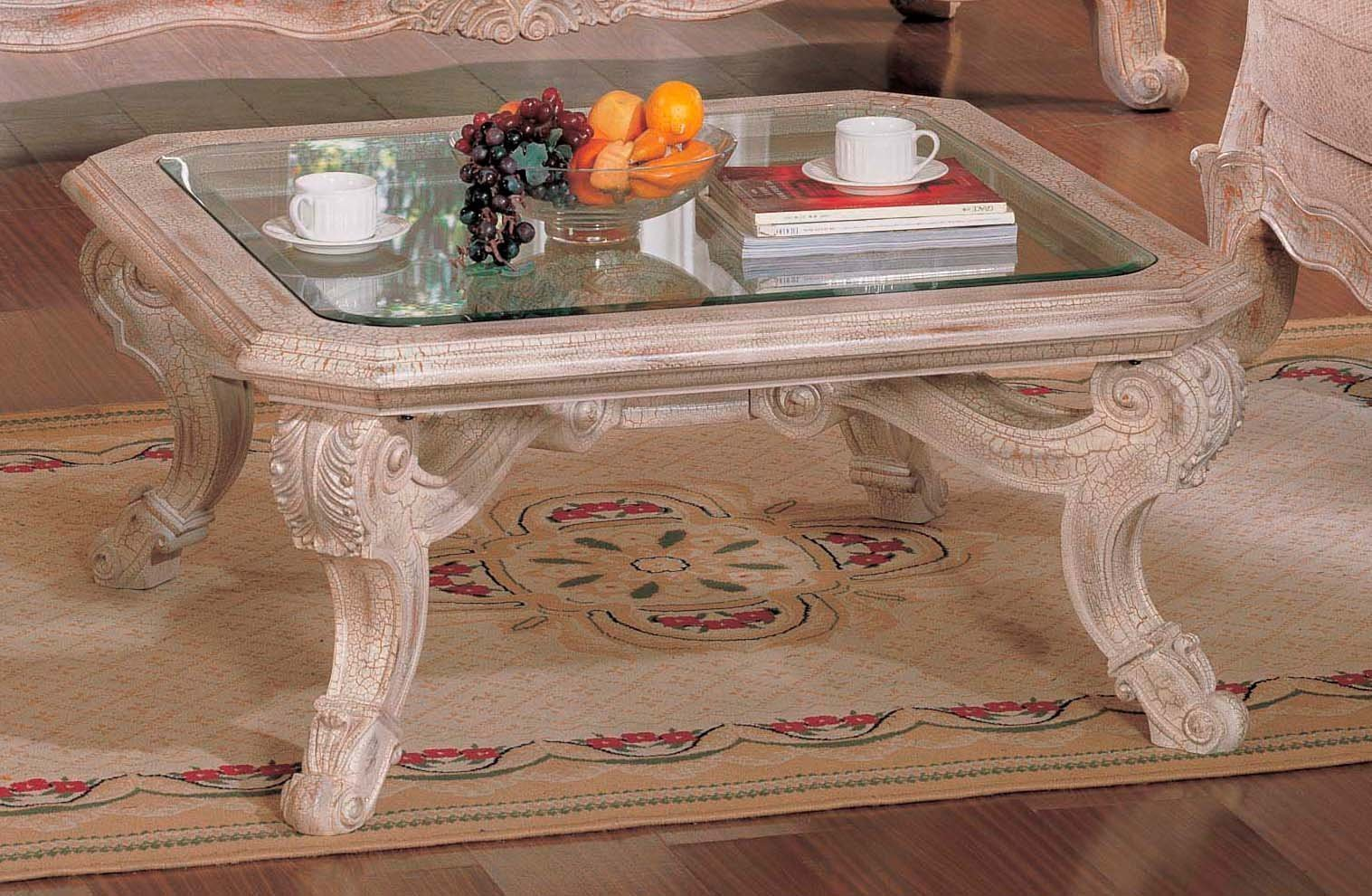 Off-White-Coffee-Table-Set-wood-square-shape-with-4-legs-and-champer-Luxury-Antique-White-Living-Room (Image 3 of 9)