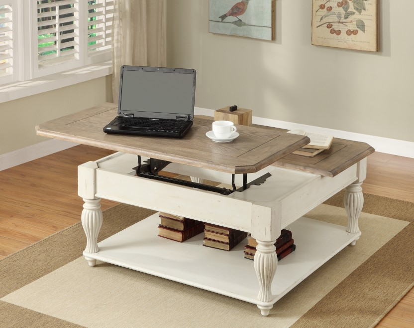 Off-White-Coffee-Table-Set-wood-stained-square-shape-table-Coventry-White-Lift-Top-Square-Cocktail-Table (Image 4 of 9)