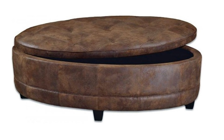 Ottoman Round Coffee Table The Top Features A Grid That Can Also Come With Glass Stone Or Wood (Image 7 of 9)
