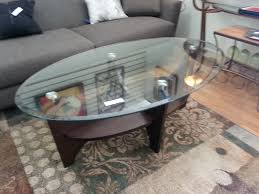 Oval Coffee Table Glass You Could Sit Down And Relax On The Sofa With Your Cup Of Nescafe At This Table The Shelf Underneath Is For Magazines (Image 10 of 11)