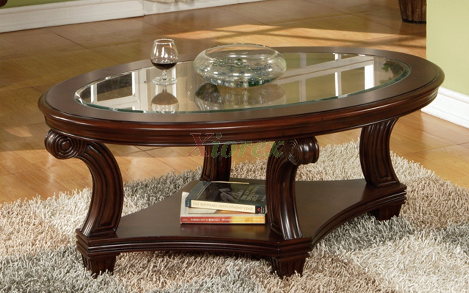 Oval Coffee Table Glass Drawer Wood Storage Accent Side Table Modern Design Sofa Table Contemporary Wooden (Image 6 of 11)