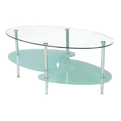 Oval Glass Coffee Table Furniture Inspiration Ideas Simple And Neat Look The Shelf Underneath Is For Magazines (Image 4 of 10)