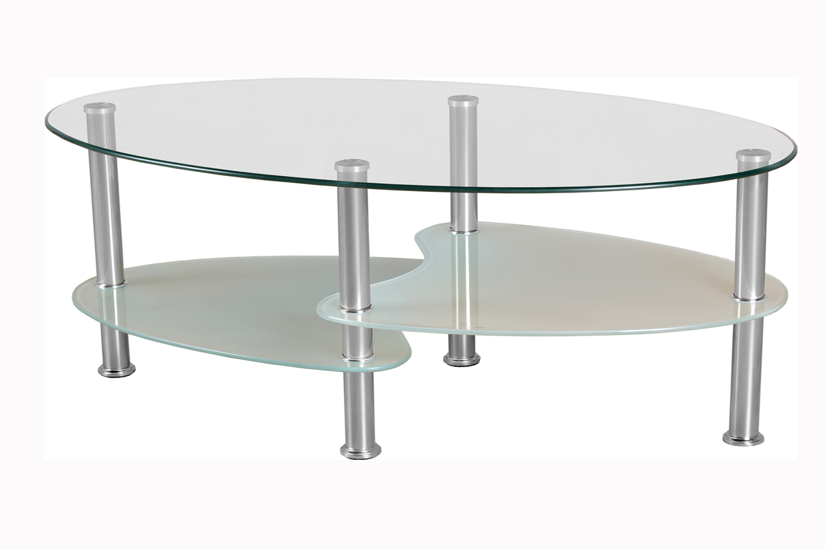 Oval Glass Coffee Table Light Oval Glass Coffee Table Can Have Some Unusual Shelves You Keep Your Things Organized And The Table Top Clear (Image 8 of 10)
