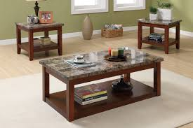 Picture Of 3 Piece Coffee Table Set Cherry Wood Finish Granite Veneer Top (View 9 of 9)