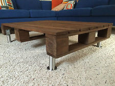 Reclaimed Pallet Wood Coffee Table With Stainless Steel Legs Rustic Solid Wood (View 5 of 7)