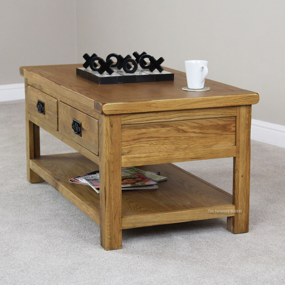RS21 Rustic Oak 4 Drawer Coffee Table Angle Side Rustic Oak 2 Drawer Coffee Table Rustic Oak Coffee Tables (Image 5 of 10)