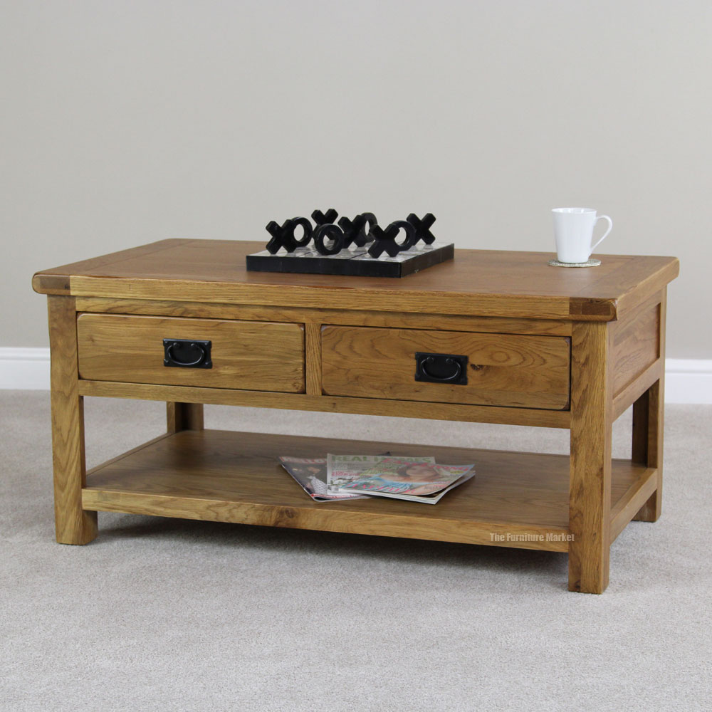 RS21 Rustic Oak 4 Drawer Coffee Table Main Rustic Oak 2 Drawer Coffee Table Rustic Oak Coffee Tables (Image 3 of 9)