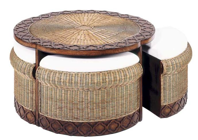 Rattan Ottoman Coffee Table Use The Largest As A Coffee Table Or Group Them For A Graphic Display (Image 8 of 10)