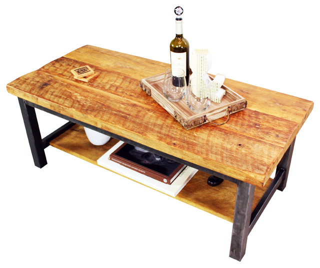 Reclaimed Timber Coffee Table Handmade In Chicago From Local Reclaimed Wood With White Wine On The Top (View 4 of 10)