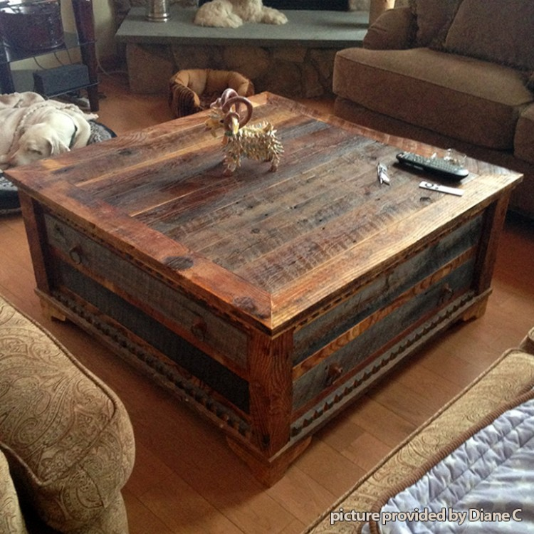 Reclaimed Wood Square Coffee Table As Rustic Coffee Table Rustic Coffee Tables (View 5 of 9)