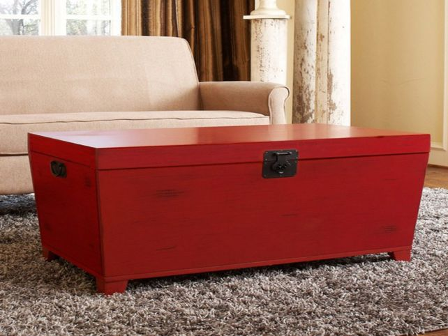 Best 10 of modern trunk coffee table wood simple elegant for Red modern coffee table