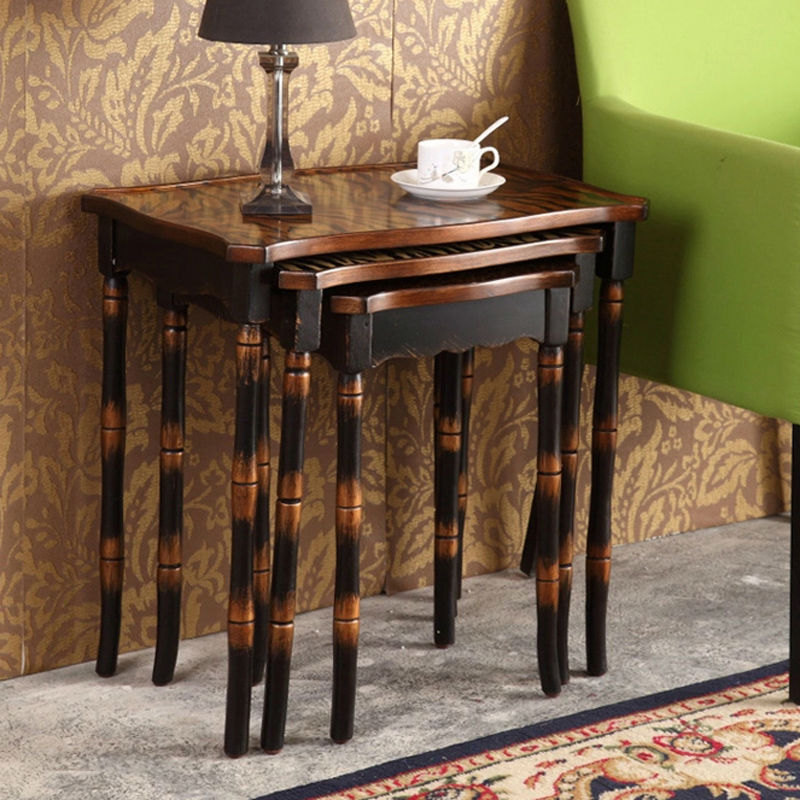 Retro-hand-painted-side-table-set-coffee-table-antique-wooden-furniture-living-room-furniture-3-set (Image 9 of 10)