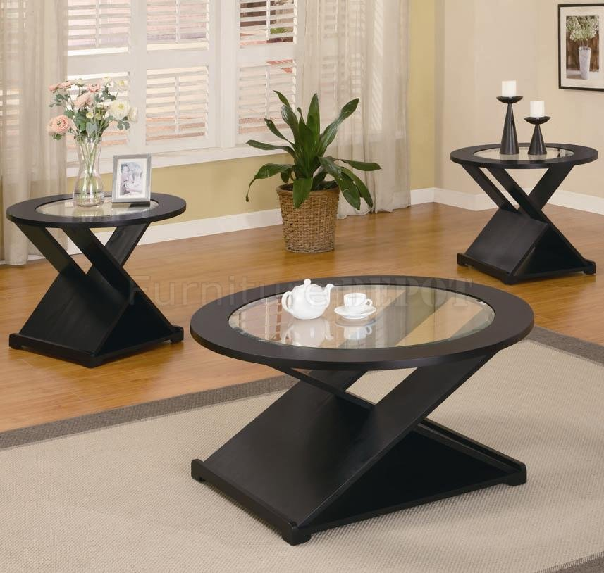 Rich Black Finish Modern 3pc Coffee Table Set With Round Glass Tops (View 7 of 8)
