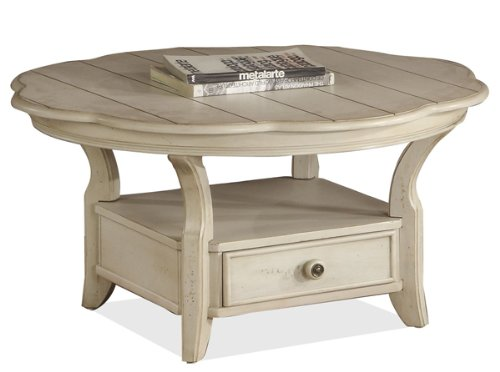 Riverside Cape May Round Coffee Table In Seaspray White Cheap Riverside Cape May Round Coffee Table In Seaspray White (Image 7 of 9)