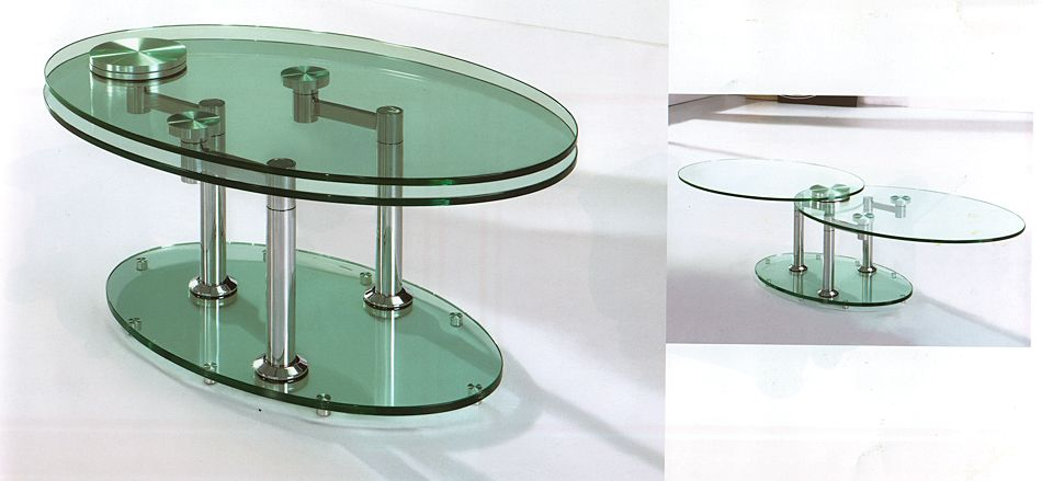 Rotating Glass Coffee Table Clear Rectangle Shape Glass And Stainless Steel Coffee Table Contemporary Modern Designer (View 3 of 9)