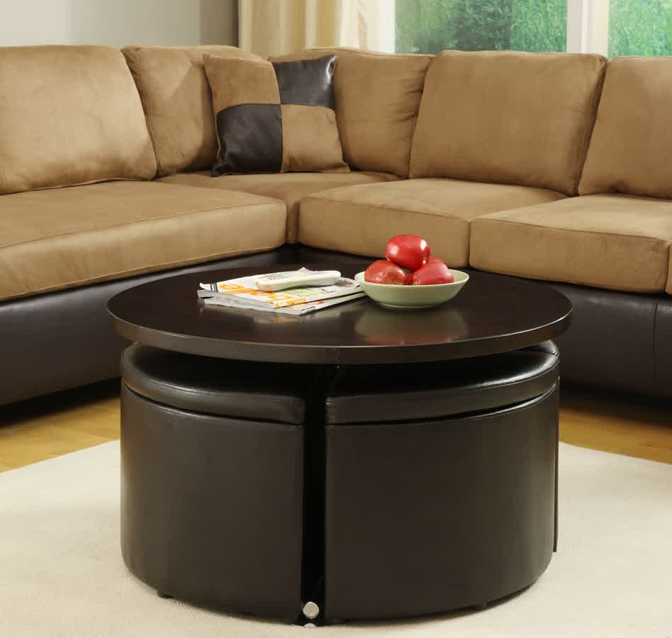 Round Coffee Table Ottoman With White Rug And SofasModern Wood Coffee Table Reclaimed Metal Mid Century Round Natural Diy Padded Large Leather Storage Ottoman Large (Image 8 of 10)