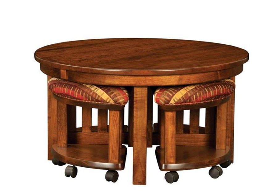 Round Coffee Table With Chairs Underneath Brown Color Furnish Brown Coffee Table With Stools Underneath (View 5 of 10)