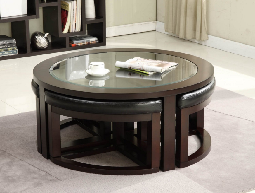 Round Coffee Table With Chairs Underneath Round Shape With Glass On Top Modern And Artistic Design Coffee Table (View 8 of 10)