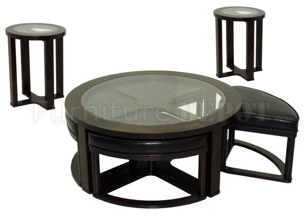 Round Glass Top Cocktail Table With Stools Optional End Tables (View 10 of 10)