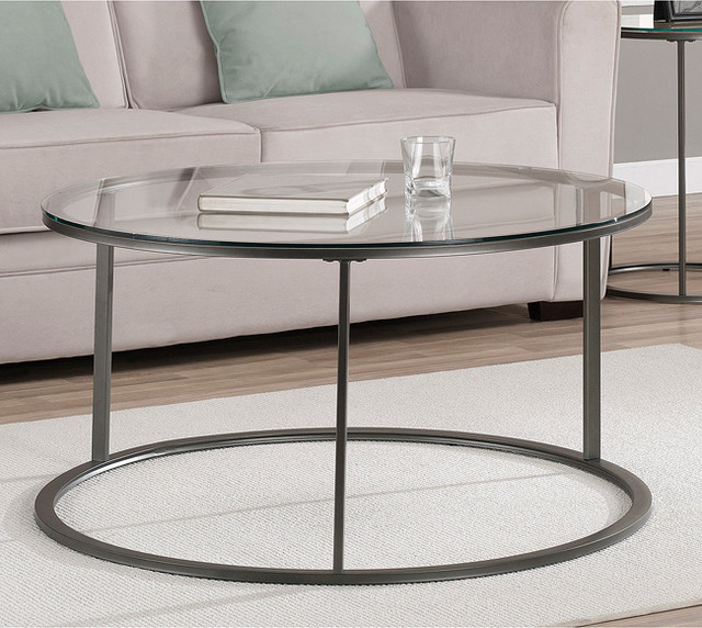 Round Glass Top Metal Coffee Table Contemporary Coffee Tables Round Shape With Glass On Top (View 9 of 10)