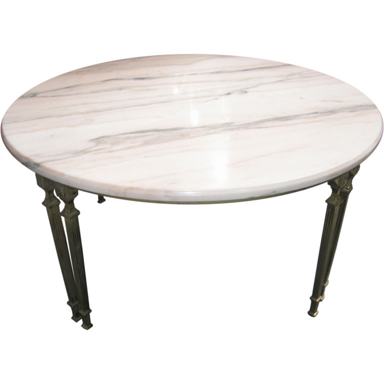 Round-Marble-Top-Coffee-Table-with-Bronze-Supports-Marble-Top-Coffee-Table-Round-for-decoration (Image 6 of 8)