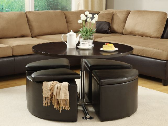 Round Modern Wood Coffee Table Reclaimed Metal Mid Century Round Natural Diy Padded Large Coffee Table With Pull Out Ottomans (Photo 8 of 10)