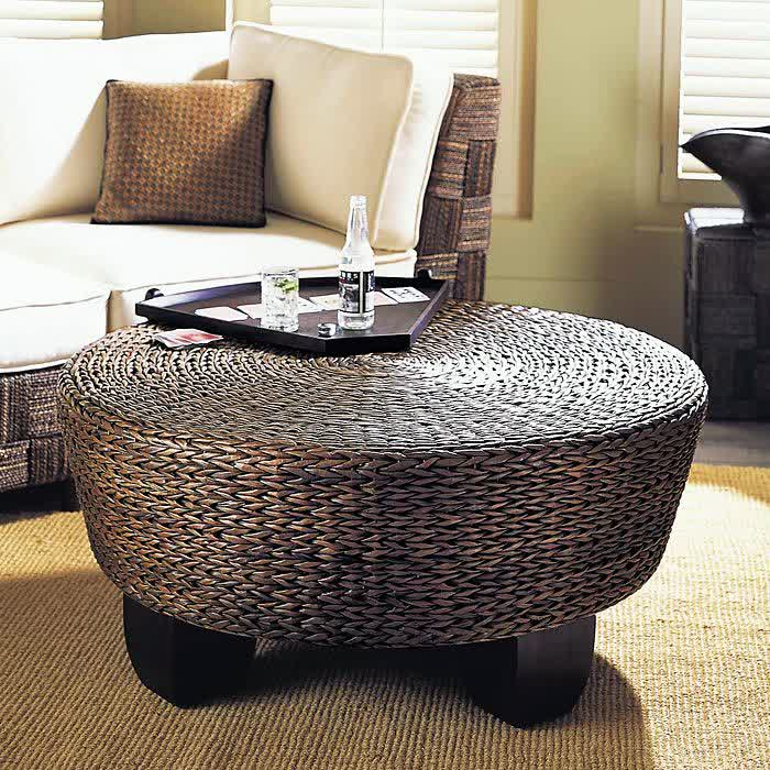 Round Modern Wood Coffee Table Reclaimed Metal Mid Century Round Natural Diy Padded Wicker Coffee Table Ottoman (View 9 of 10)