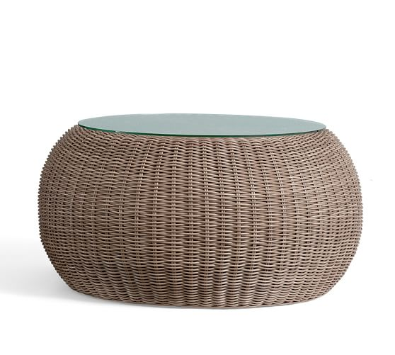 Round Rattan Coffee Table With Glass On Top Torrey All Weather Wicker Round Coffee Table Natural C (View 9 of 10)
