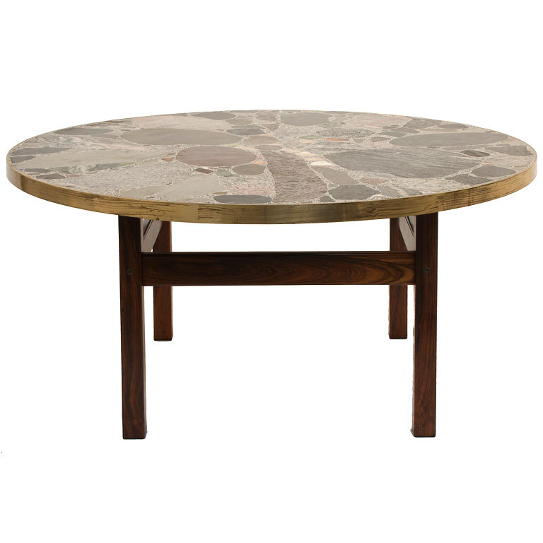Round Stone Top Coffee Table Classic Coffee Table Round Stone Top Coffee Table (Image 6 of 10)