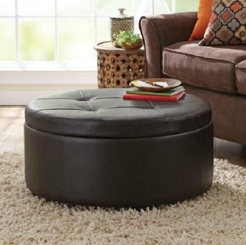 Round Storage Ottoman Brown Faux Leather WOOD TABLE TOP Coffee Table Modern Mid Storage Ottoman (Image 8 of 10)