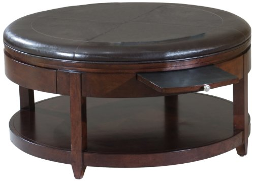 Round Storage Ottoman Brown Faux Leather WOOD TABLE TOP Coffee Table Modern Storage Ottoman (View 9 of 10)