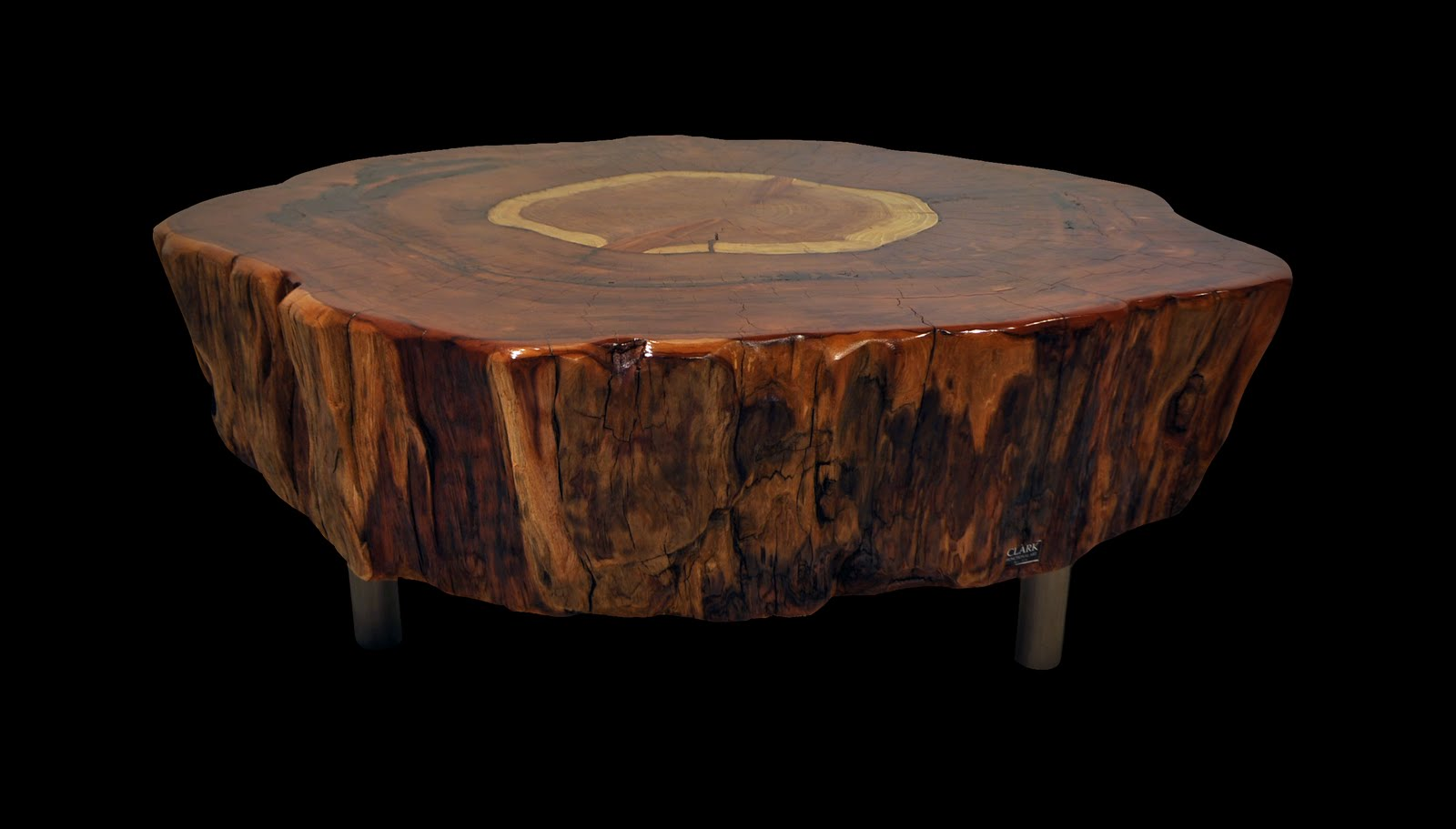 Round Trunk Coffee Table Reclaimed Tree Stump Coffee Table (Image 8 of 10)