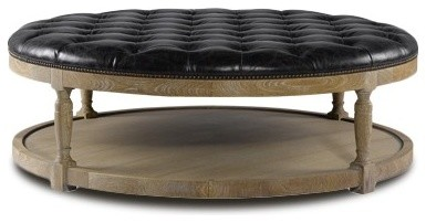 Round Tufted Leather Coffee Ottoman Contemporary Footstools And Ottomans  (Image 8 Of 8)