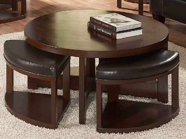 Round Coffee Table With Ottomans Underneath Modern Wood Coffee Table Reclaimed Metal Mid Century Round Natural Diy Padded Large Coffee Table With Pull (Photo 7 of 10)